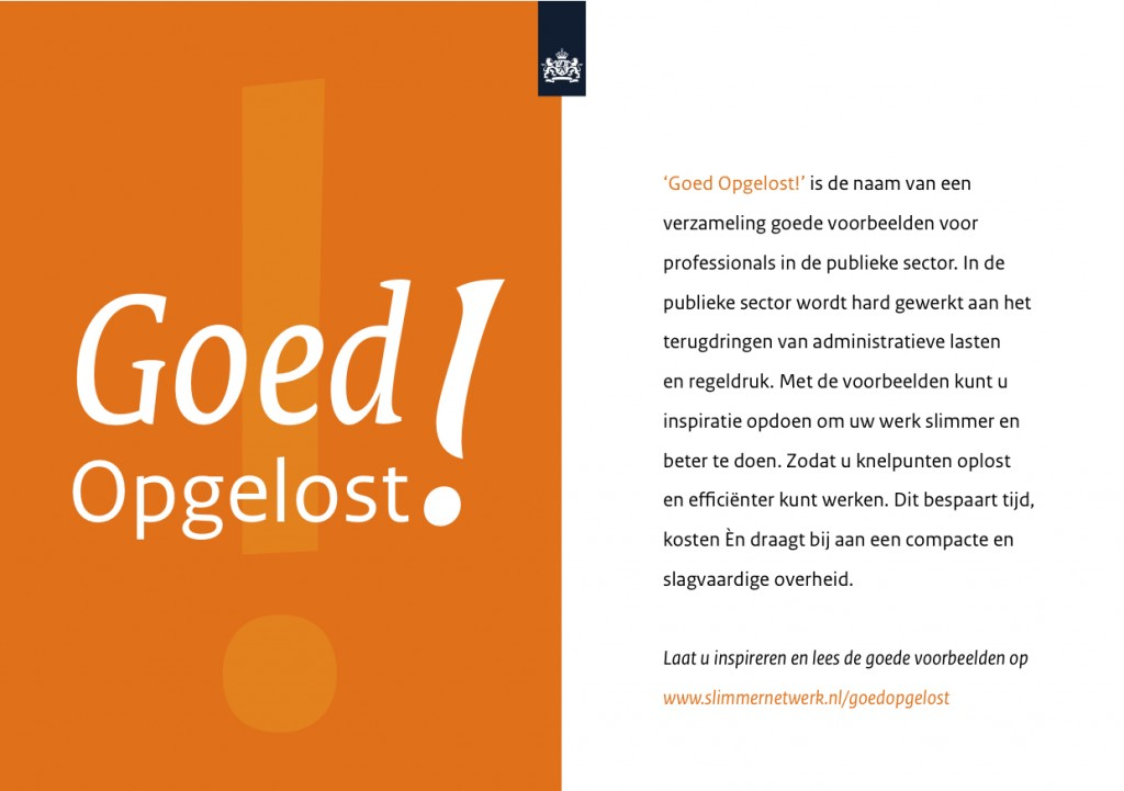 Flyer van Goed Opgelost!